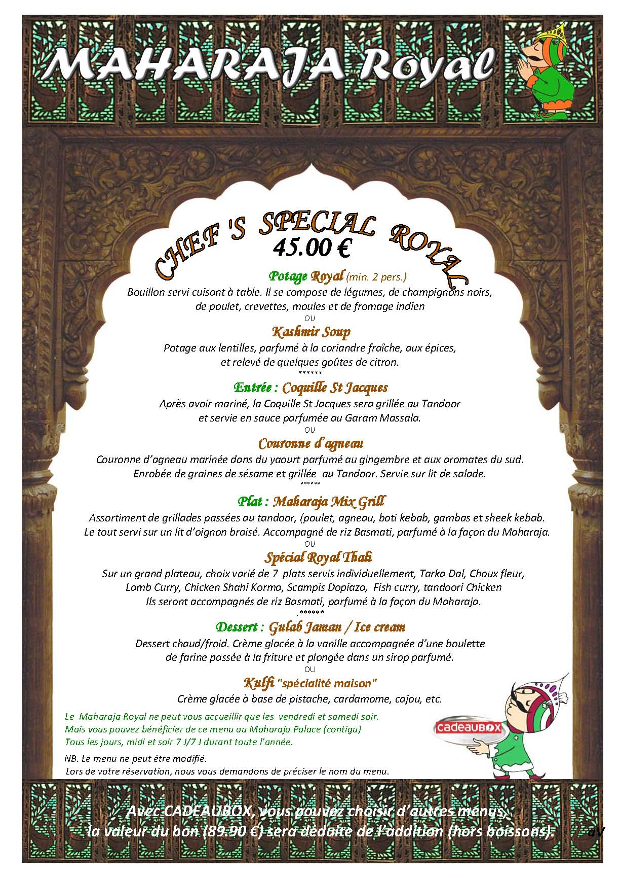MENU CHEF'S SPECIAL ROYAL CADEAUBOX 2016
